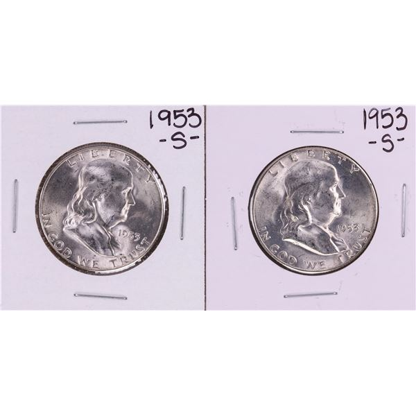 Lot of (2) 1953-S Franklin Half Dollar Coins Amazing Toning