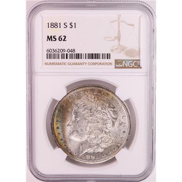 1881-S $1 Morgan Silver Dollar Coin NGC MS62 Great Toning