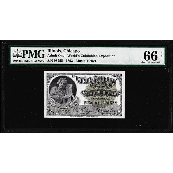 1893 World's Columbian Exposition Ticket Handel PMG Gem Uncirculated 66EPQ