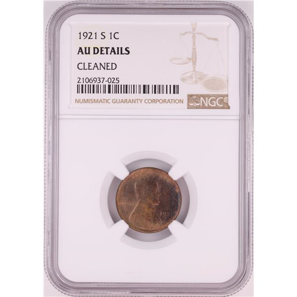 1921-S Lincoln Wheat Cent Coin NGC AU Details