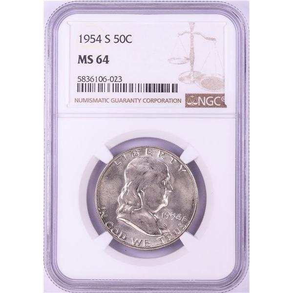 1954-S Franklin Half Dollar Coin NGC MS64