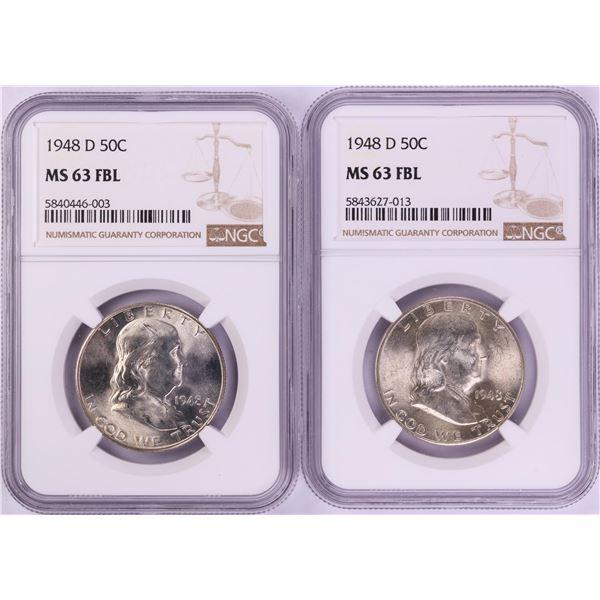 Lot of (2) 1948-D Franklin Half Dollar Coins NGC MS63FBL