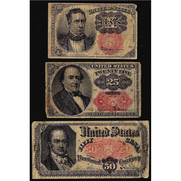 Lot of (3) 5th Issue 10/25/50 Cents Fractional Currency Notes