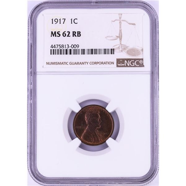 1917 Lincoln Wheat Cent Coin NGC MS62RB