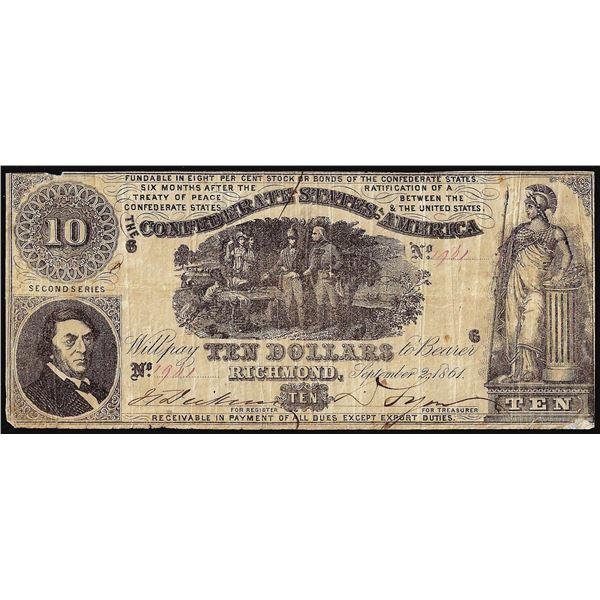 1861 $10 Confederate States of America Note