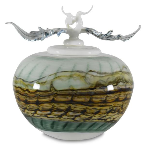 """GartnerBlade Glass """"Opal White Covered Sphere with Finial"""" Hand-Blown Glass Sculpture"""