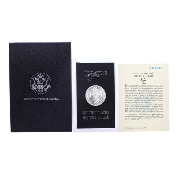 1884-CC $1 Morgan Silver Dollar Coin GSA Hoard Uncirculated with Box & COA