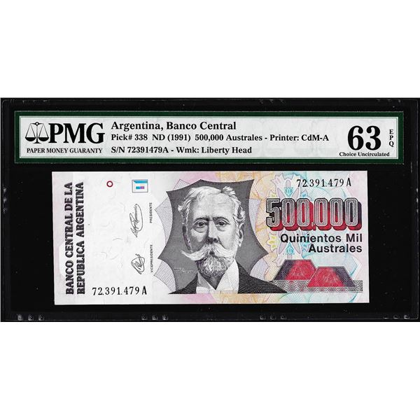1991 Argentina Banco Central 500,000 Australes Note Pick# 338 PMG Choice Uncirculated 63EPQ