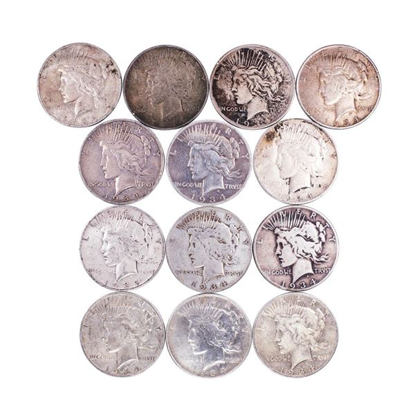 Lot of (13) 1934-D/S $1 Peace Silver Dollar Coins