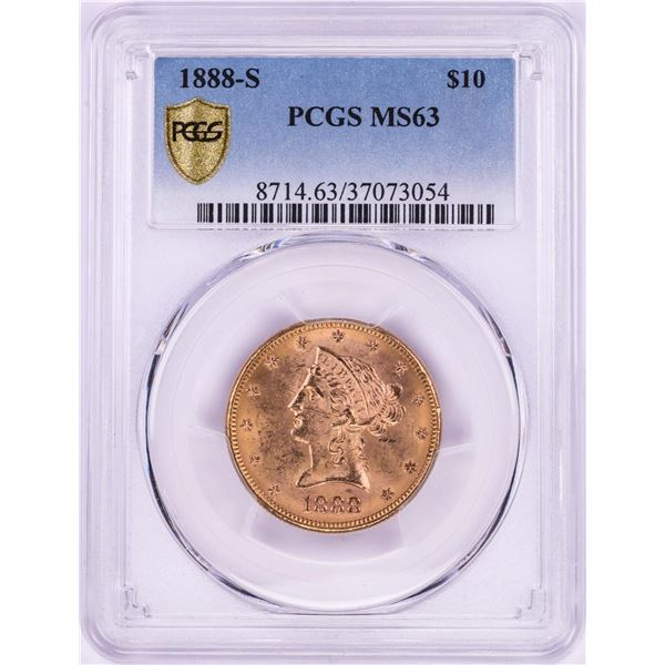 1888-S $10 Liberty Head Eagle Gold Coin PCGS MS63