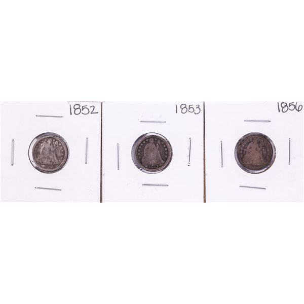 Lot of (3) Seated Liberty Dime Coins