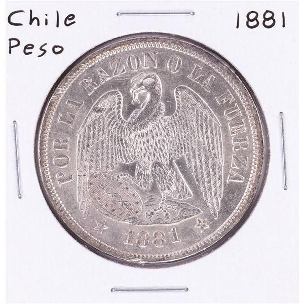 1881 Chile Un Peso Silver Coin