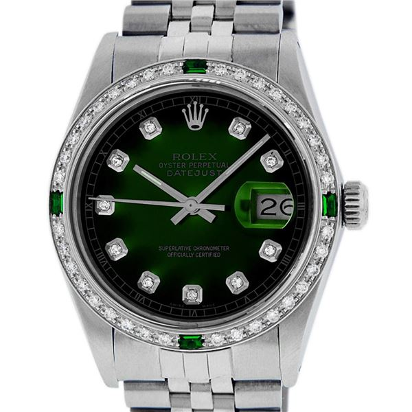 Rolex Mens Stainless Steel Diamond & Emerald Oyster Perpetual Datejust Wristwatch