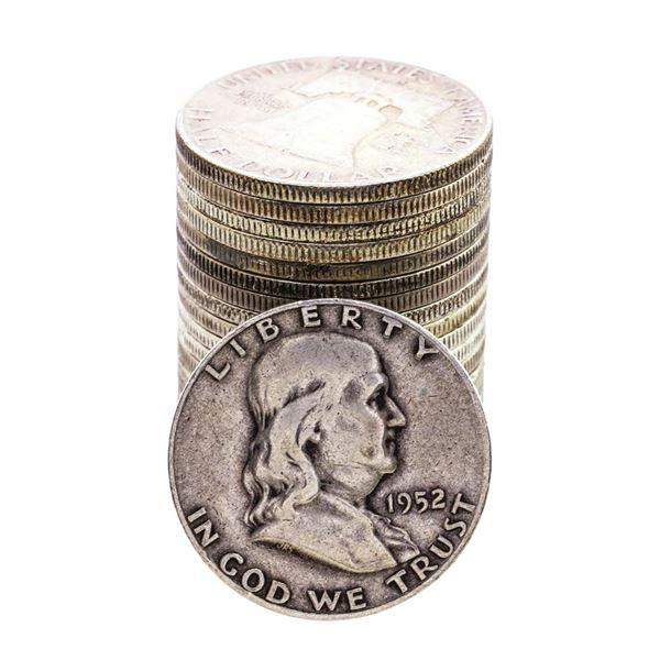Roll of (20) 1952-S Franklin Half Dollar Coins