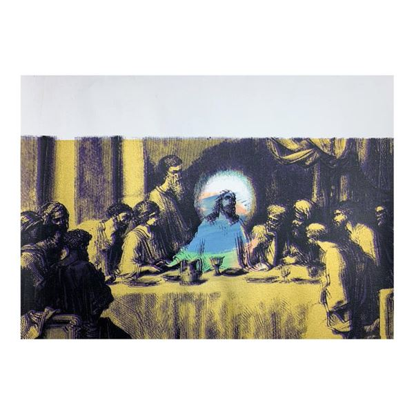"Steve Kaufman (1960-2010) ""Last Supper Gold"" Original Mixed Media on Canvas"
