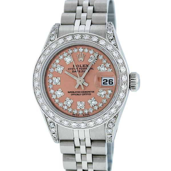 Rolex Ladies Stainless Steel Salmon Diamond Quickset Datejust Wristwatch