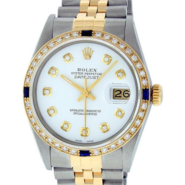 Rolex Mens Two Tone White Diamond & Sapphire Datejust Wristwatch