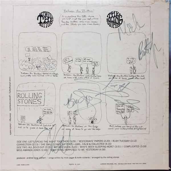 Signed Rolling Stones Signed Between The Buttons Album Cover