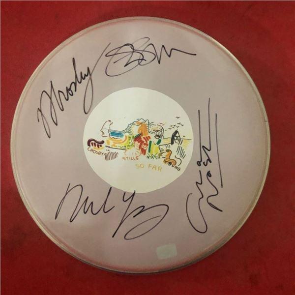 Signed CSNY Crosby, Stills, Nash & Young Drumhead
