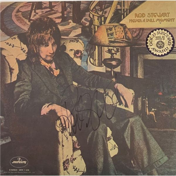 Signed Rod Stewart Never A Dull Moment Album Cover