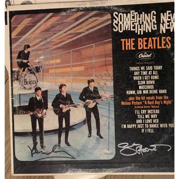 Signed Beatles Something New Album Cover