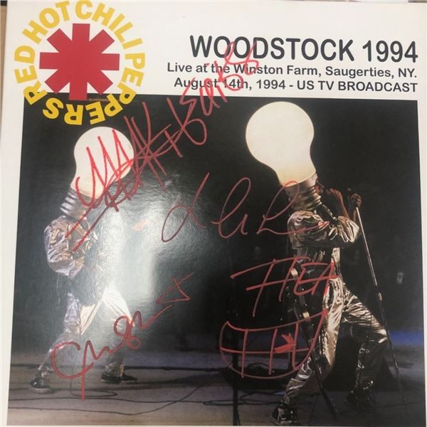 Signed Red Hot Chili Peppers Woodstock 1994 Album Cover