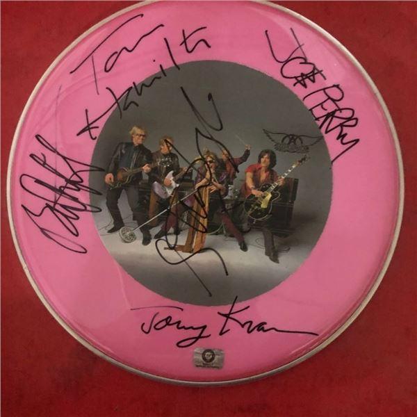 Signed Aerosmith Drumhead