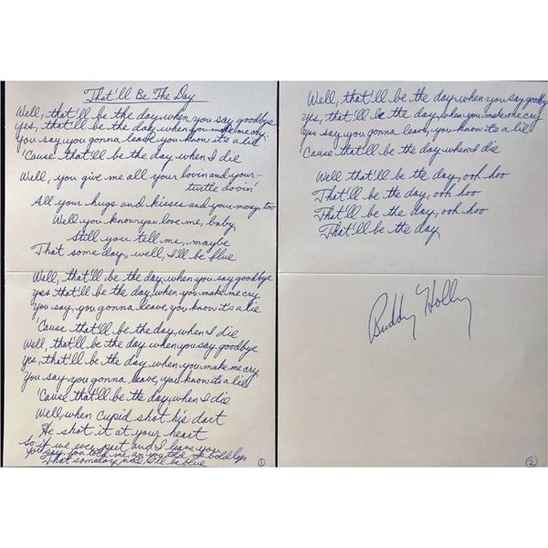 """Buddy Holly's """"That'll Be The Day"""" Signed Lyric Sheet"""