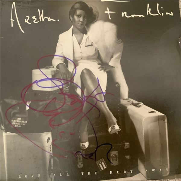 Signed Aretha Franklin Love All The Hurt Away Album Cover