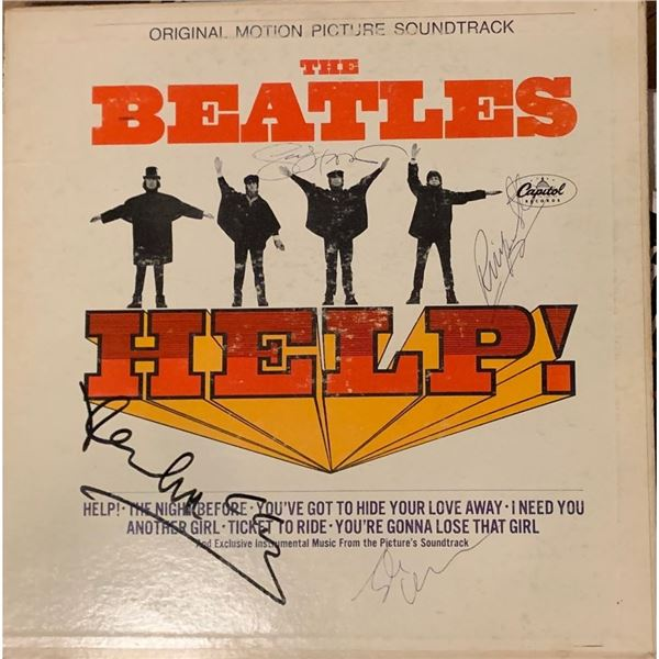 Signed Beatles Help! Album Cover
