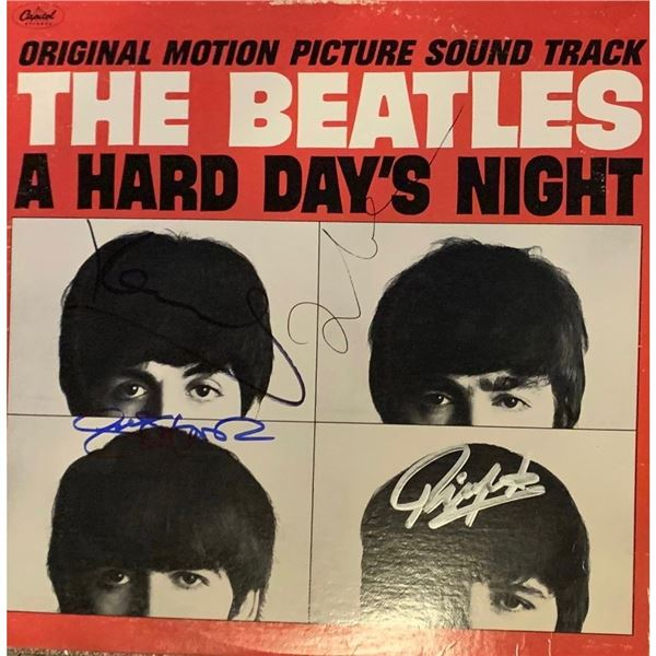 Signed Beatles Hard Day's Night Album Cover
