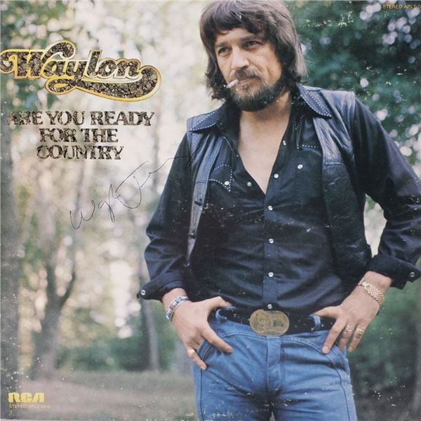 Signed Waylon Jennings , Are You Ready For The Country Album Cover