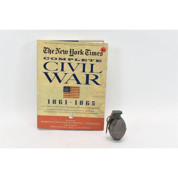 1 Inert Pineapple Grenade & The New York Times Complete Civil War Book & CD