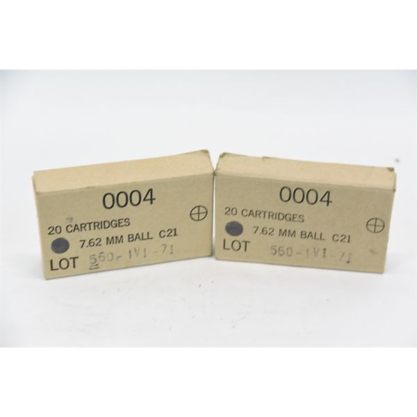 40 Rounds 7.62x51 Ball Ammunition in Original Boxes
