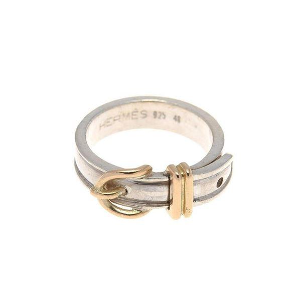 Hermes Silver Buckle US 4.5 Ring