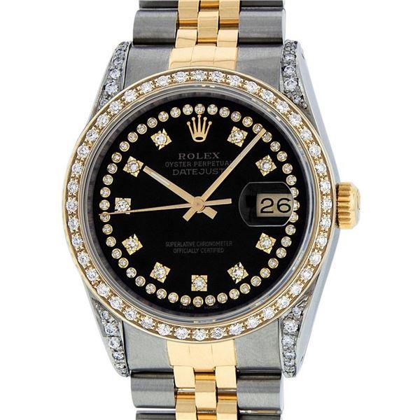 Rolex Mens 2 Tone Black Diamond Lugs 36MM Datejust Wristwatch Oyster Perpetual
