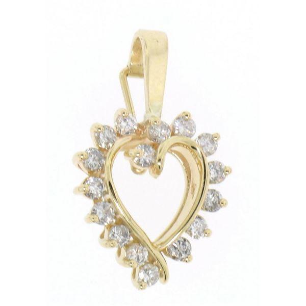 14K Solid Yellow Gold 1.0  ctW 16 Round Diamond Heart Enhancer Pendant Charm