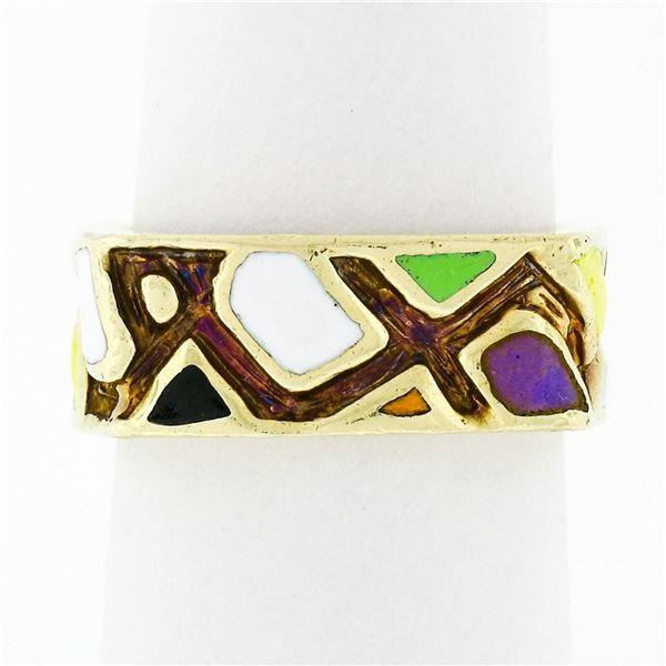 Vintage Martine 14k Gold Multicolored Enamel Mosaic Squared Eternity Band Ring