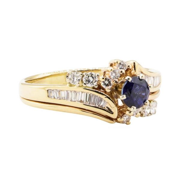 1.10 ctw Blue Sapphire and Diamond Ring - 14KT Yellow Gold