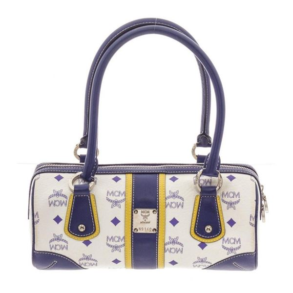 MCM Navy  White Visetos Coated Canvas and Leather Tote Bag