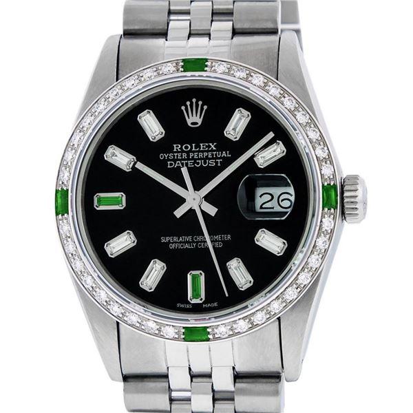 Rolex Mens Stainless Steel Black Baguette Emerald Diamond 36MM Datejust Wristwat