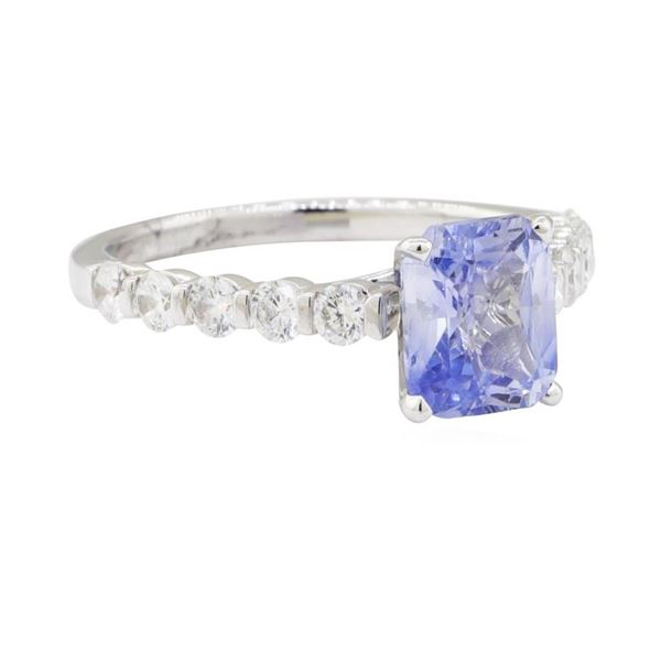 2.34 ctw Sapphire and Diamond Ring - 18KT White Gold