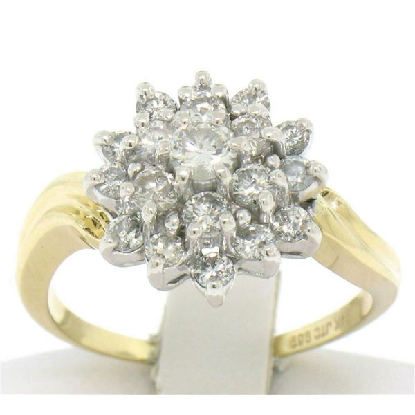 14k Solid Two Tone Gold Wavy Shank Round 1.10 ctw FIERY Diamond Cluster Ring