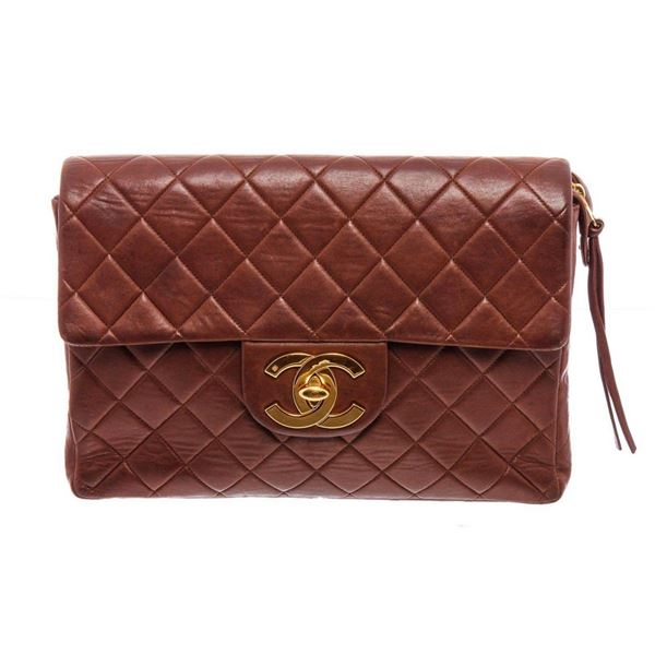 Chanel Vintage Brown Lambskin Leather CC Flap Backpack