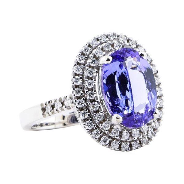 4.75 ctw Tanzanite And Diamond Ring - 14KT White Gold