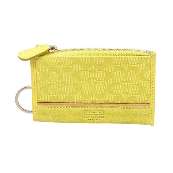 Coach Neon Yellow Canvas Small Cardholder Wallet