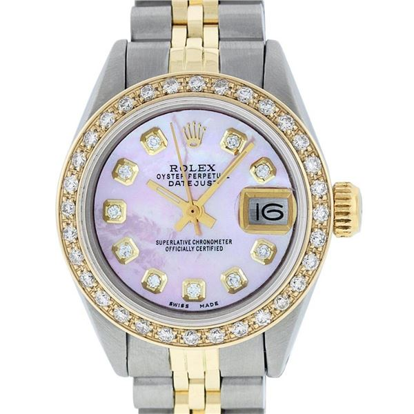 Rolex Ladies 2 Tone Pink MOP Diamond 26MM Oyster Perpetual Datejust Wristwatch