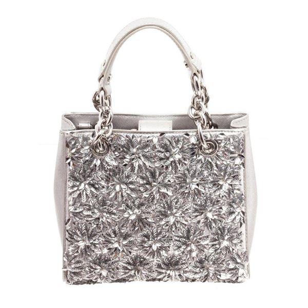 Michael Kors Silver Flora Burst Shoulder Bag