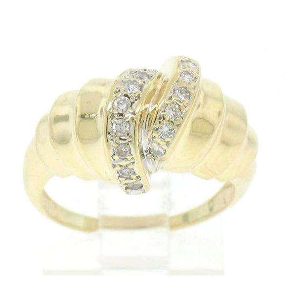 14k Solid Gold Twist Diamond Embellished Ladies Simple Yet Unique Cocktail Ring