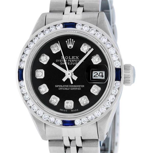 Rolex Ladies Stainless Steel Black Diamond 1 ctw Channel Sapphire Datejust Wrist